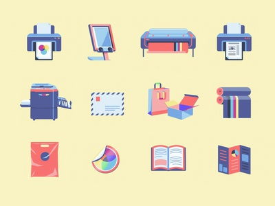 Icons for Print Lab packaging office 2d best shot cool design printing stickers icon design icon set print minimalism logo design vector design vector illustration flat illustration awesome design