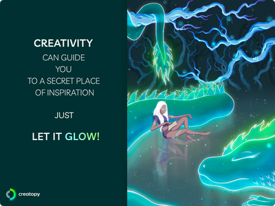 Creativity. Let it Glow! creativity procreate poster graphicdesign design nomads spirit cartoon contest girl dragon woods forest best shot cool design awesome design illustration character characterdesign glow