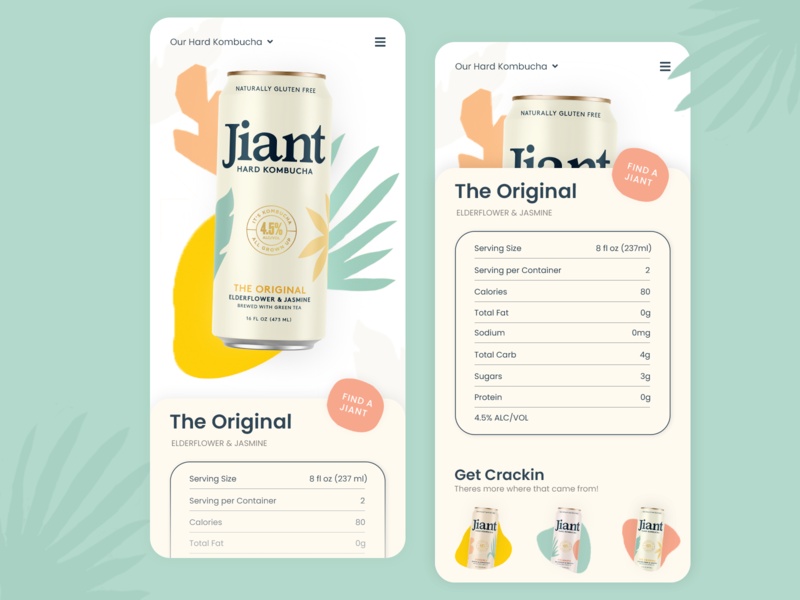 Jiant Hard Kombucha Mobile Product Screen mobile product page product color bright application branding ux ui design