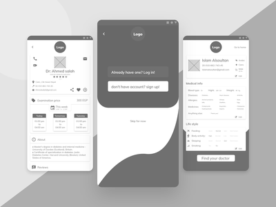 Take care - Medical app Wireframes. prototype website white web design colors gray application layout webdesign sketching sketch wireframe userexperience ux app user experience medical design uxui userinterface