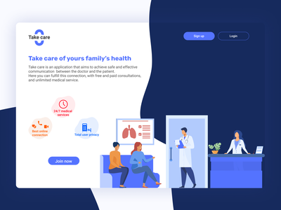 Take care - Medical app landing page medical user experience dailyui userexperience userinterface app design colors ui uxui