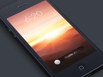 Alarm Screen alarm clock sunrise switch slider disable slide ios app iphone photo philips hue