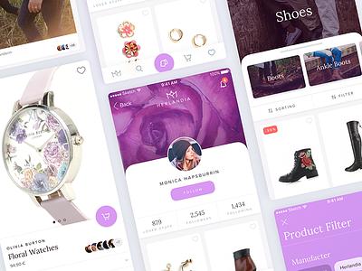 Social Shopping tapbar sorting filter herlandia purple listing detail product app ios ecommerce profile