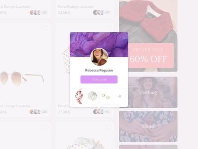 Profile Tooltip social follow shop ecommerce purple ui design web profile tooltip