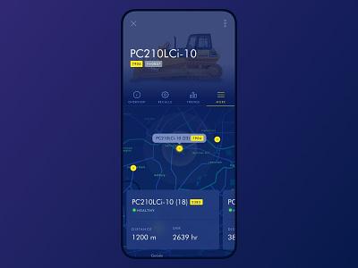 Komatsu - Machine Locator ui mobile web app pin map ui badge blue machine maps