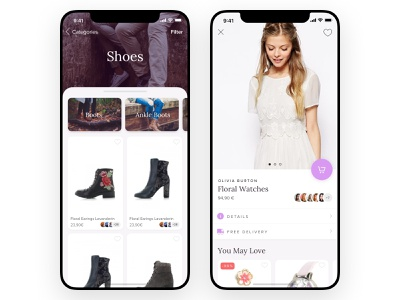 Herlandia - Product Listing & Detail faces social app ios girl purple eshop cart cards categories listing detail product ecommerce
