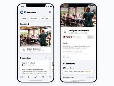 Comunee - Landing & Event Detail design ui grey detail tap bar comments discussion event sliders web app ios