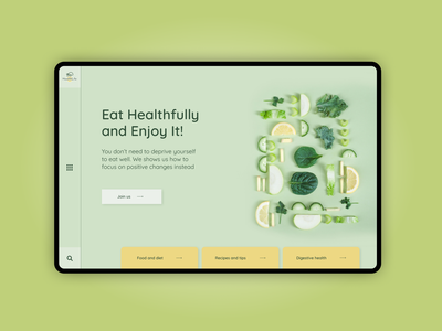 Healthy food vector illustrator website ux minimal web ui design