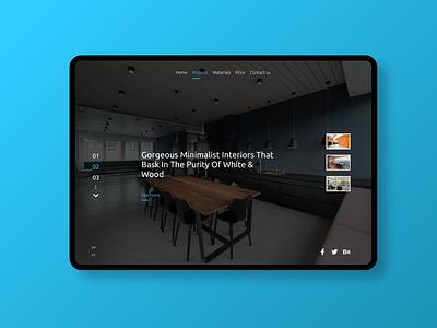 interior design minimal flat vector dark website web ux ui design