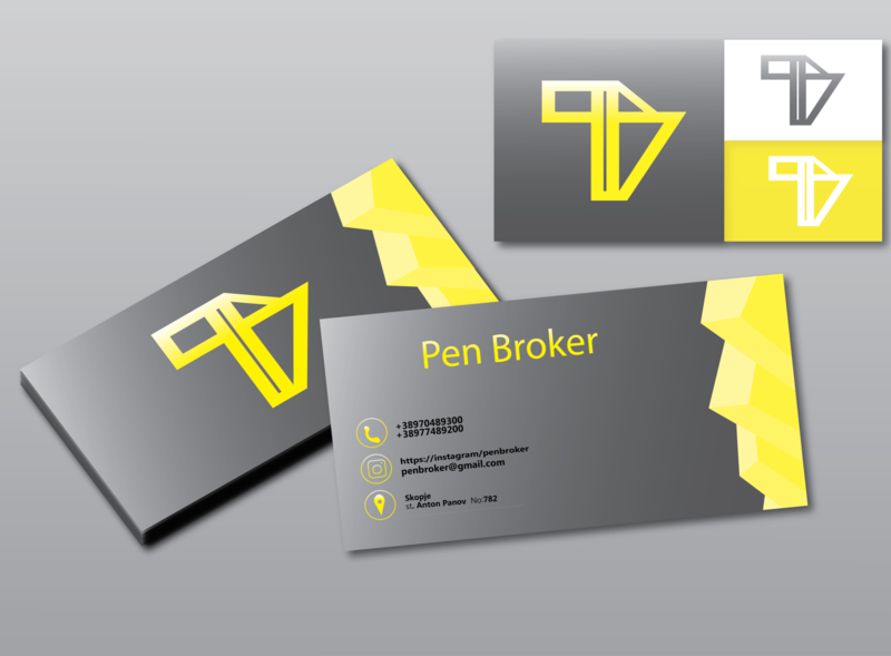 PB logo and business card marks sadow gradient grey white yellow typography location instagram phone colors variations design 3d type logo pb