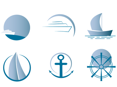 Boats vector illustrator design gradient steering wheel anchor moon watercolor water concept boat logo boats boat