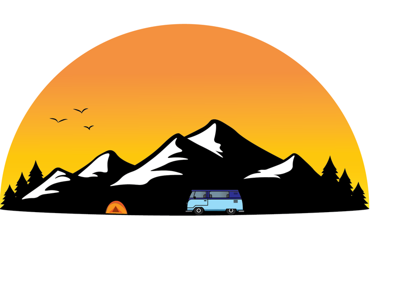 Mountains national park illustration trees birds snow tent camp combie mountains sunrise