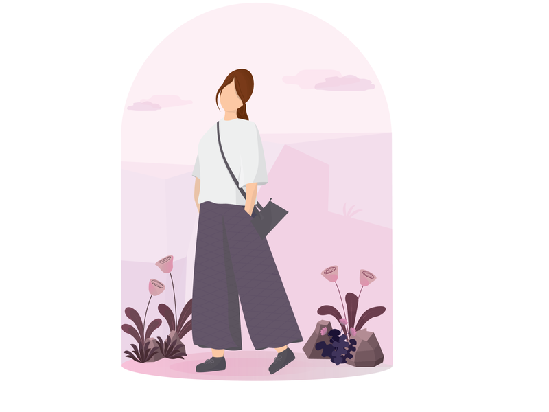 Girl in the Park design 3d art shadows calm grass purse sky lady woman casual stones urban flowers fasion character girl