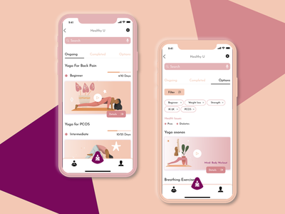 Healthy U - IOS UI design user center design user interface design userinterface adobe xd color fitness fitness app yoga ios app design ios app ios illustration adobe illustrator ui design ui uiux app interaction design design