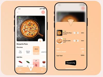 Pizza delivery app - UI design ui  ux user experience user interface design food delivery app food app pizza colors vector e-commerce app e-comerce designer app interaction design ui ui design uiux design