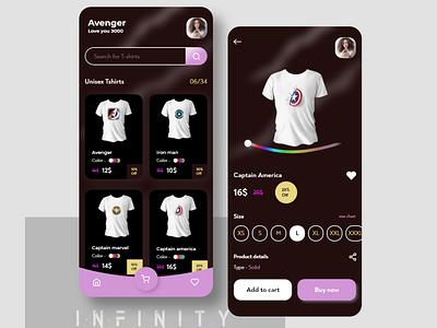 Marvel T-shirt app adobexd e-commerce design color adobe illustrator e-commerce app ios app design ui ui design interaction design design