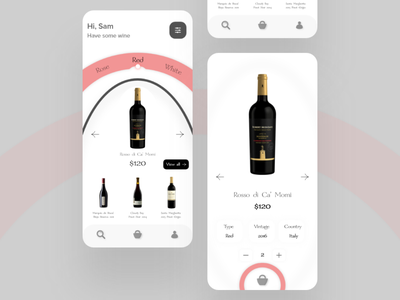 Wine app - UI color palette wine app wine mobile app e-comerce e-commerce app app ios app design design uiux designer ui design interaction design ui