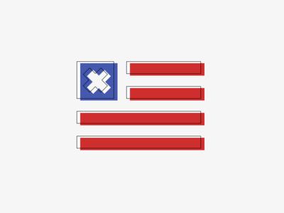 Cross And Stripes cross stripes flag red blue logo mark