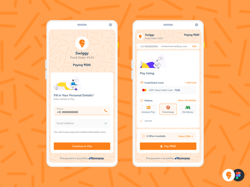 Razorpay Checkout | Swiggy app ux product ui tech food design fintech checkout brand payment