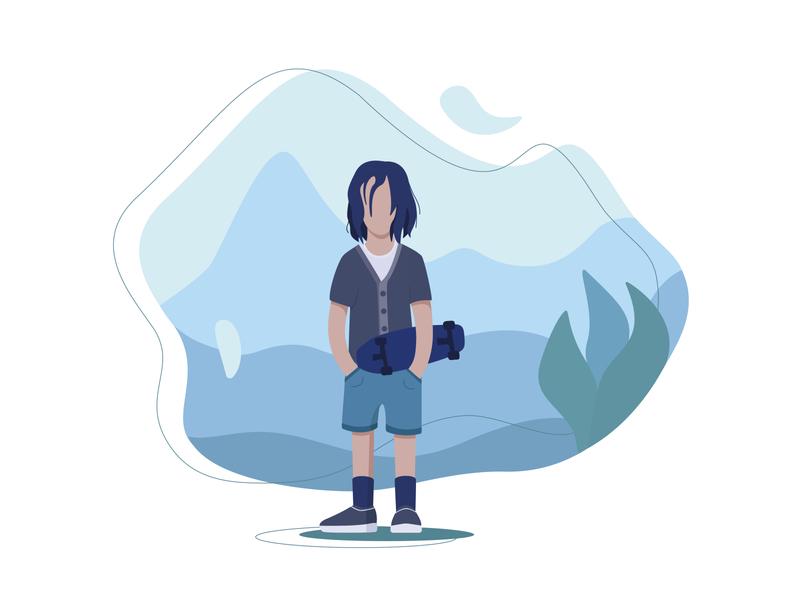 Skateboarder man skateboarder skateboard flat characterdesign character vector illustrator illustration
