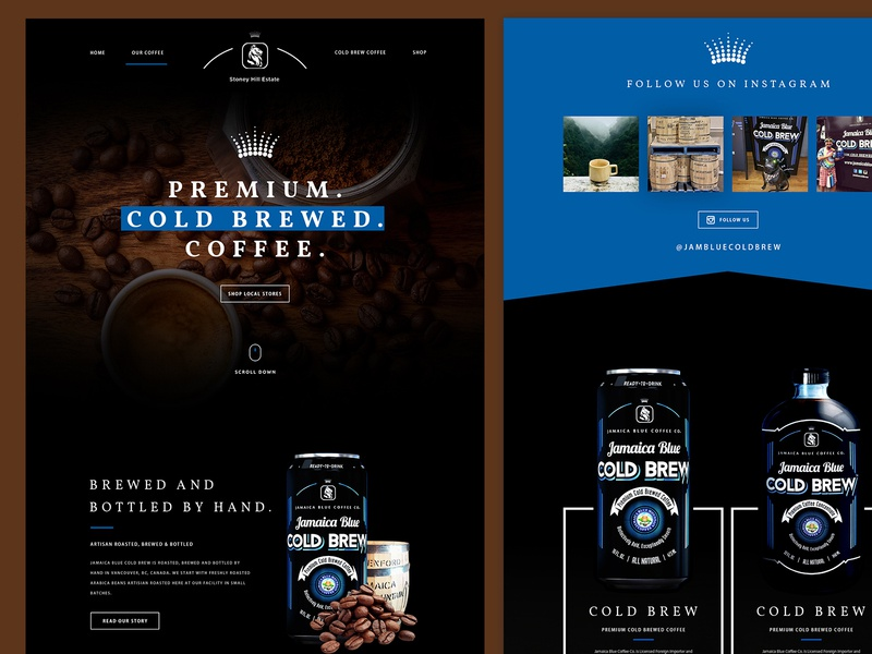 Premium Cold Brewed Coffee Landing Page Design creative design landing page photoshop modern design website ui template layout ux mockup