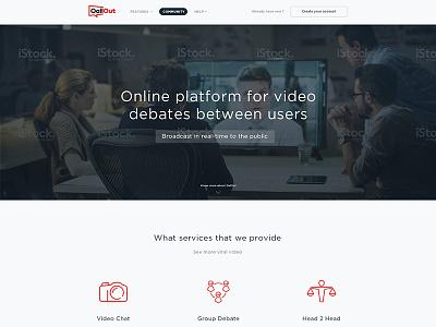 Online Debates Website Mockup photoshop template modern business debate online mockup layout psd ux ui