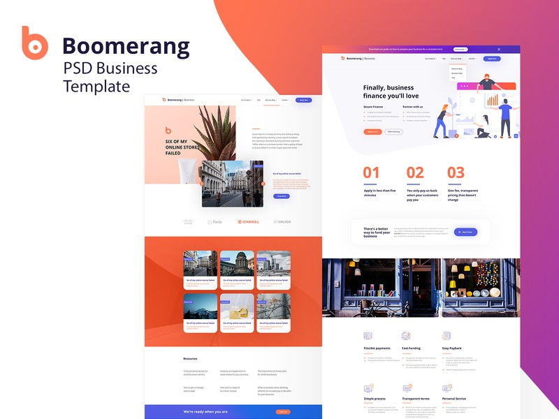 Boomerang Business Finance Psd template loan business finance sale landing page photoshop modern design web ux template ui layout mockup