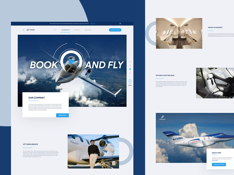 Home Page design for private jet operator plane travel modern ux business design website layout ui web mockup landing page private jet honda jet