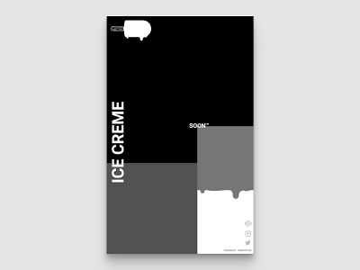 website/poster design codepen creme ice ice cream dripping drip portfolio goldenratio monochrom black  white black poster webdesign website