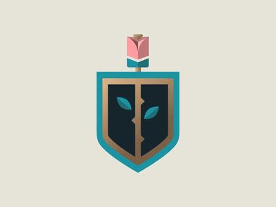 Rose Gold logo illustration badge crest texture thorns leaves petals grain texture gold shield flower rosebud rose