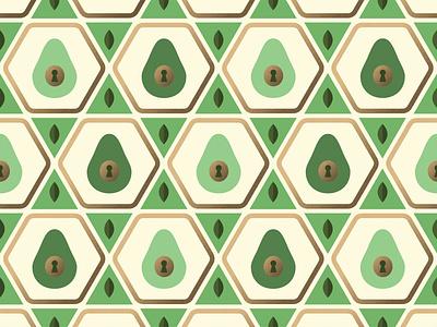Avocado Pattern fruit food illustration foodie food wallpaper pattern hexagon petals logo design logo lock leaves keyhole key illustration green gold badge avocados avocado