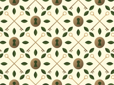 Lock and Key Pattern wallpaper pattern grain texture illustration adobe illustrator branding brand identity brand design logo design logo hexagon gold keyhole key petals leaves