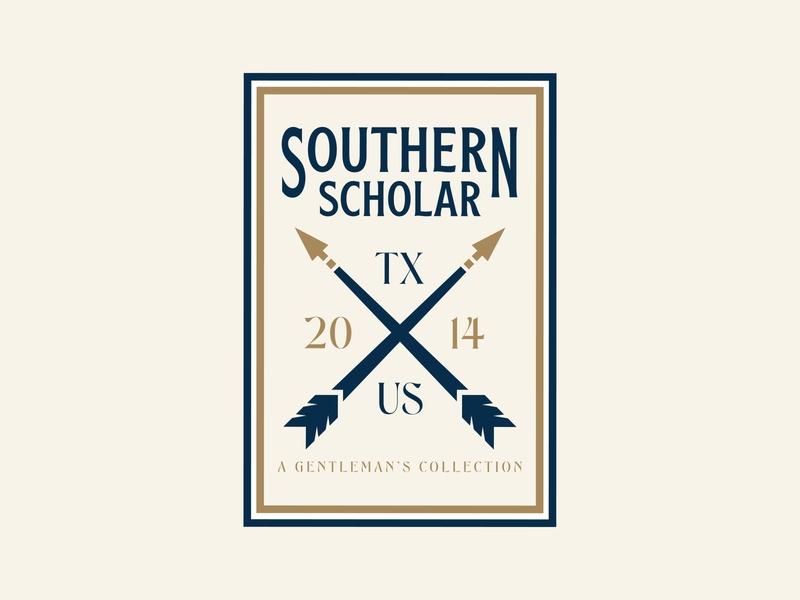 Southern Scholar typography typeface southern logo design logodesign logo illustration gold feathers branding design branding brand identity brand design brand arrow logo arrowhead arrow adobe illustrator