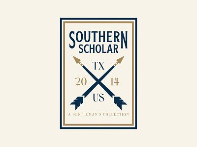 Southern Scholar typography typeface southern logo design logodesign logo illustration gold feathers branding design branding brand identity brand design brand arrow logo arrowhead arrow adobe illustrator