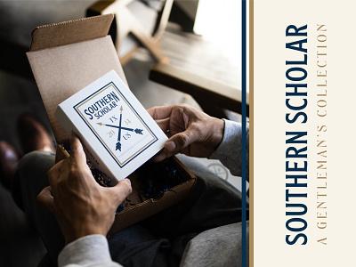 Southern Scholar Packaging texas badge design badge socks gentleman southern arrows box packagedesign packagingdesign packaging brand brand design brand identity branding branding design logo logo design logodesign