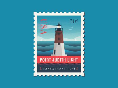 Point Judith Light water vinyl sticker sticker ocean state narragansett anchor sailboat badge design badgedesign badge usps postage stamp waves ocean lighthouse point judith light point judith rhode island