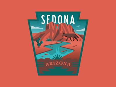 Sedona Arizona Vinyl Sticker reflection outdoors nature sticker mule stickermule hiking mountains cactus creek river coyote badge design badgedesign badge vinyl sticker sticker sedona arizona az arizona sedona