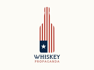 Whiskey Propaganda Podcast Logo dribbble logomark branding logo design logo stars and stripes podcast logo podcast art podcasting whiskey bottle whiskey patriotic flag american united states usa flag usa american flag america