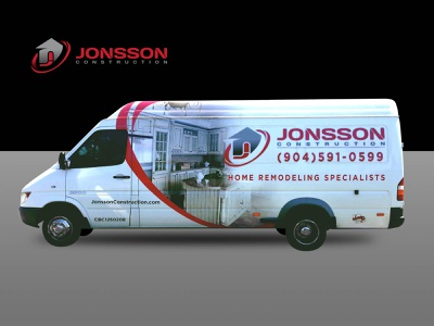 Jonsson Construction Van Wrap logo branding