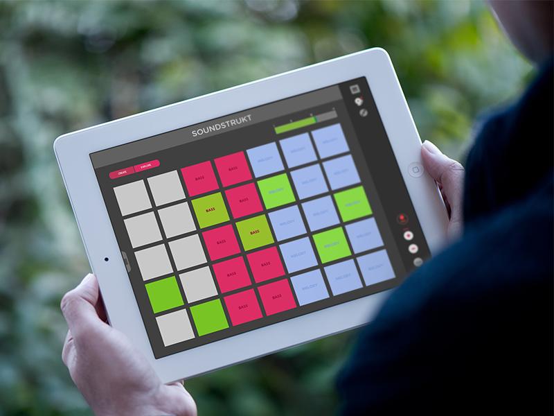 Soundstrukt - Flat Design Launchpad Music App  music app soundstrukt launchpad novation flat design flat ios ipad nid bhaumik mockup