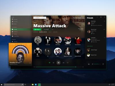 Fluent Design for Spotify design interface uiux ux ui microsoft windows acrylic spotify fluent design fluent