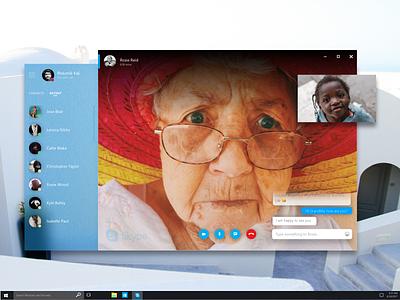 Fluent Design for Skype windows ux uiux ui microsoft interface fluent design fluent chat skype design acrylic