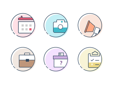 Productivity icon set survey poll job announcement capture meeting icons productivity
