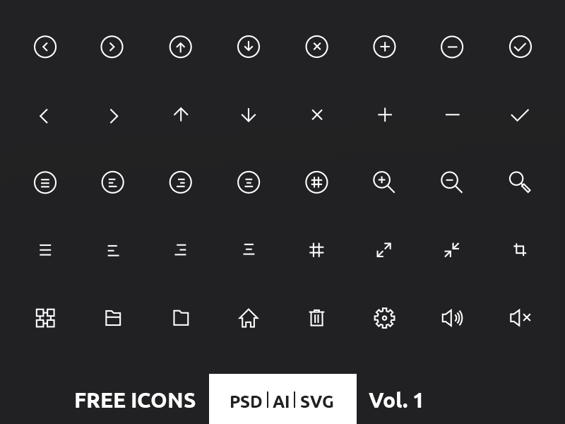 Free 40 Crispy Icons in PSD, AI & SVG ui ux free ios7 clean icons psd ai svg