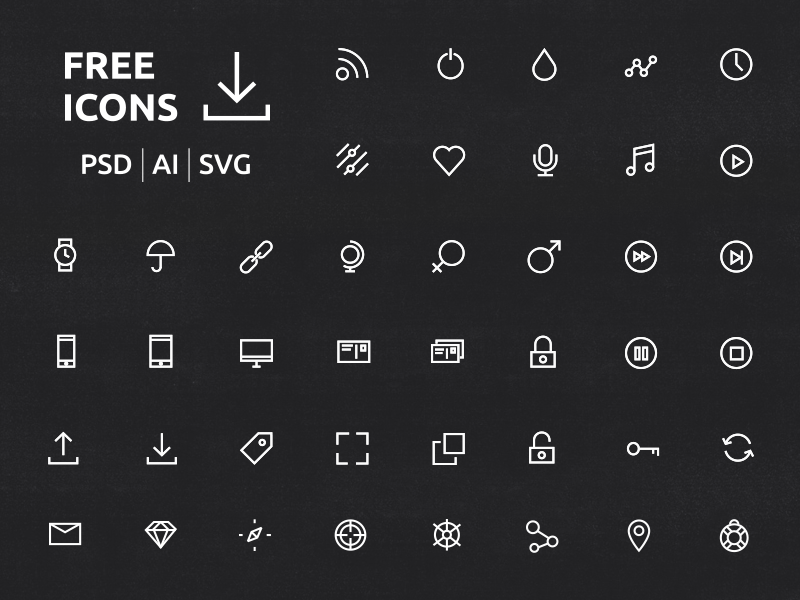 Additional 40 ui / ux new icons set ui ux free clean icons psd ai svg