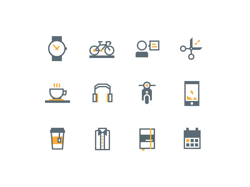 Daily Use Icons calendar moleskine shirts tee smartphone vespa headphones coffee scissors chat bike watch