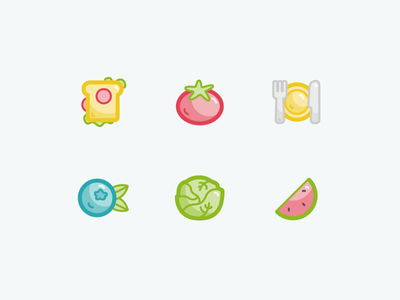 Compound food icons watermelon cabbage blueberry food tomato sandwich flat outline linear illustration icons