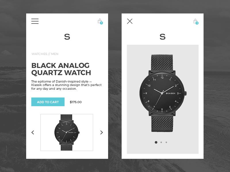 Skagen concept accessories watches scandinavian responsive interactive shop mobile ecommerce ux ui