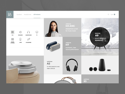 Bang & Olufsen All Products minimal responsive flat ux ui ecommerce products concept bo