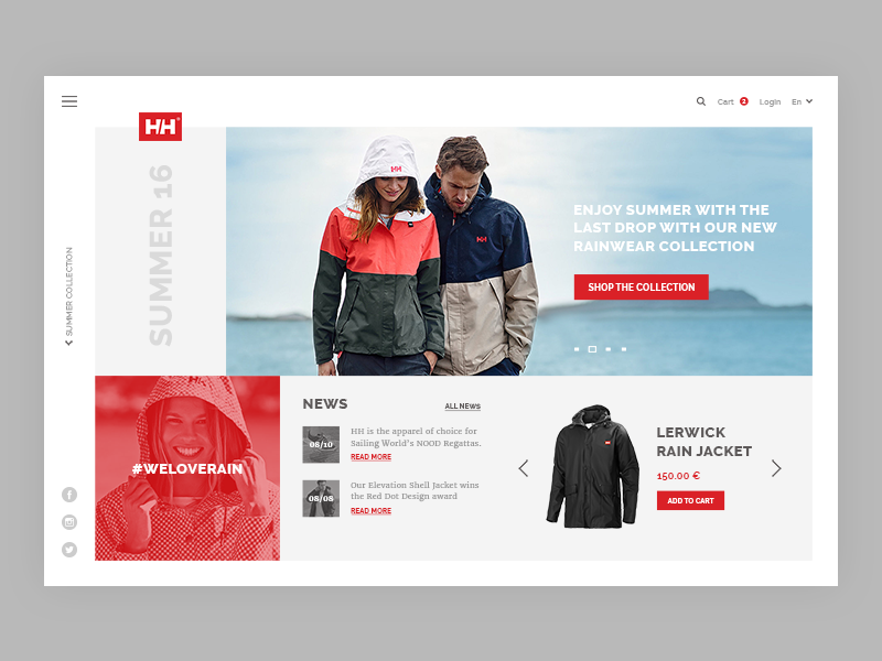 Helly Hansen redesign concept typography redesign responsive minima minimal flat shop concept web design ux ui